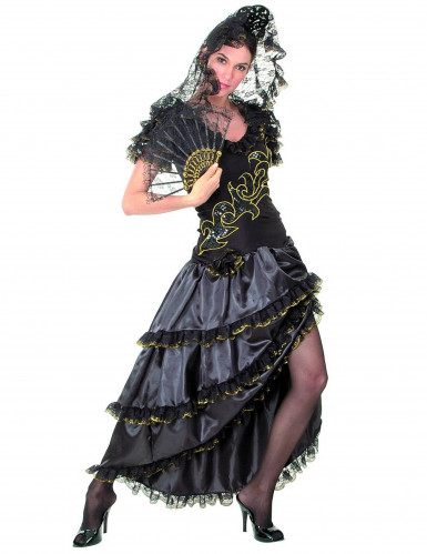 Costume danzatrice di Flamenco nero e dorato Donna