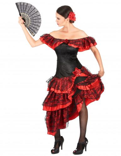 Costume danzatrice di flamenco donna rossa e nera