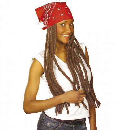 Parrucca rasta marron con bandana rossa adulto
