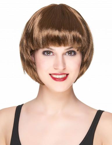 Parrucca corta castana donna