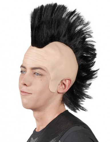 Parrucca punk con cresta nera