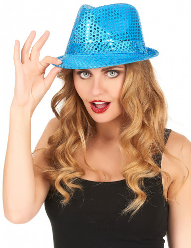 Cappello paillettato azzurro adulto-1