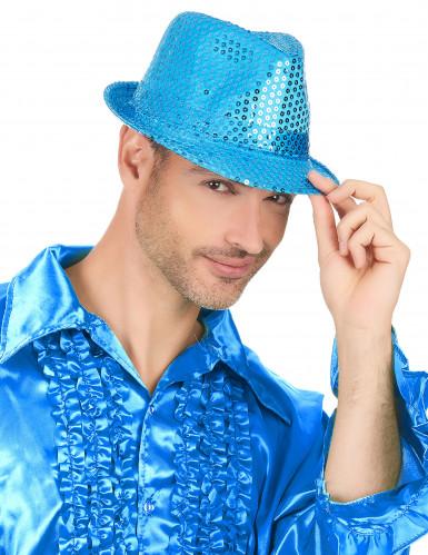 Cappello paillettato azzurro adulto-2