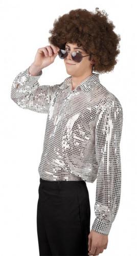 Camicia disco argentata uomo
