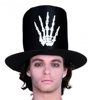 Cappello nero con mano di scheletro