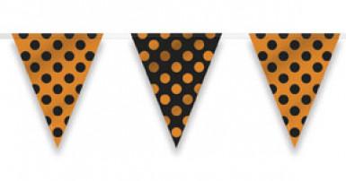 Ghirlanda con bandierine a pois nere e arancioni