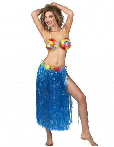 Gonna Hawaiana lunga blu Adulto