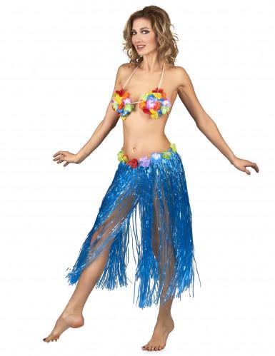 Gonna Hawaiana lunga blu Adulto-1