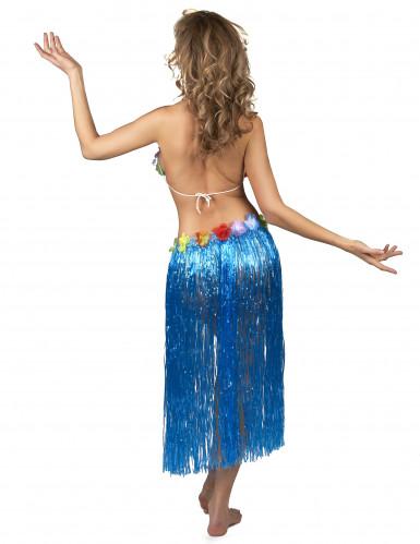 Gonna Hawaiana lunga blu Adulto-2