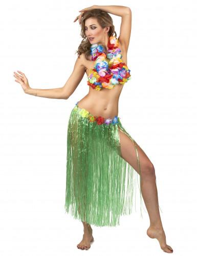 Gonna Hawaiana lunga Verde Adulto