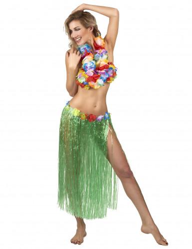 Gonna Hawaiana lunga Verde Adulto-1