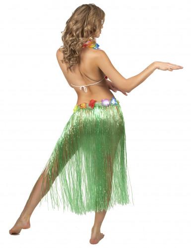 Gonna Hawaiana lunga Verde Adulto-2