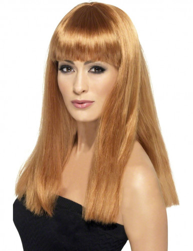 Parrucca lunga castano caramello a frangia Donna