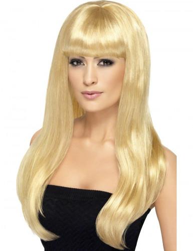 Parrucca lunga bionda a frangia per donna