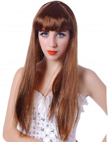 Parrucca lunga castana a frangia Donna