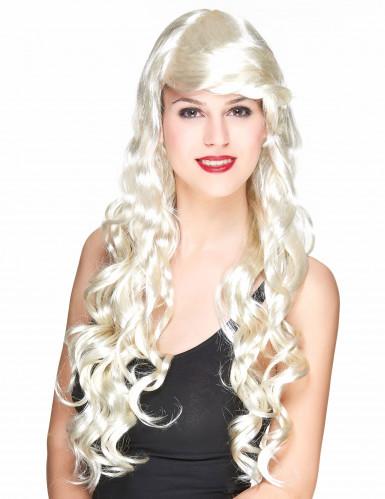 Parrucca glamour lunga bionda con boccoli donna