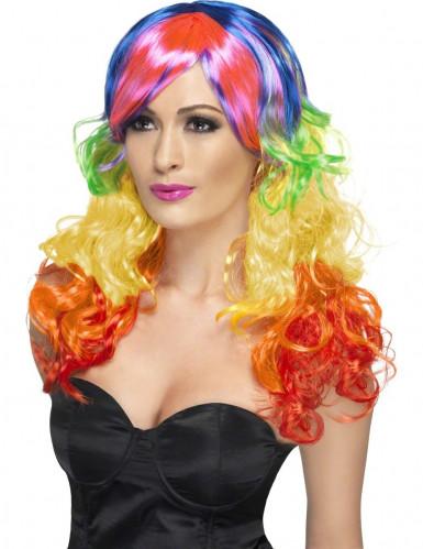 Parrucca boccoli multicolore Donna