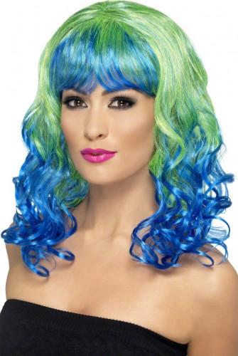 Parrucca boccoli blue e verde Donna