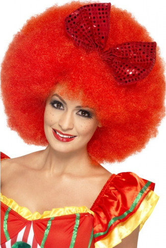 Parrucca afro clown rosso adulto