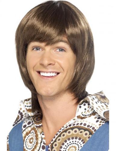 Parrucca anni '70 castana uomo