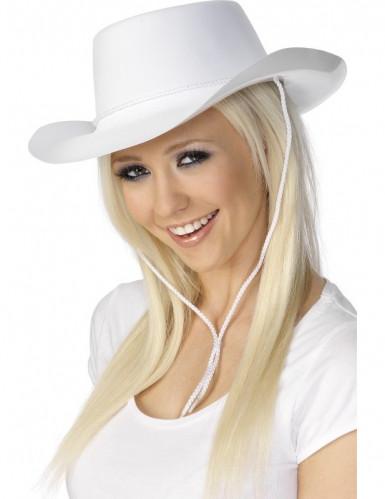Cappello cowboy bianco adulto