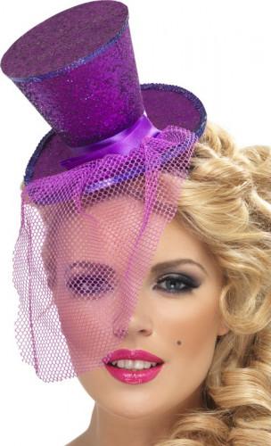 Mini cappello a cilindro viola donna