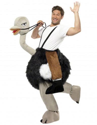 Costume umoristico uomo a cavallo di uno struzzo adulto