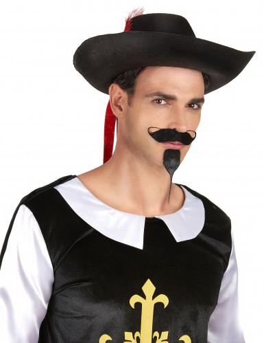 Cappello da moschettiere nero e rosso per adulto-1