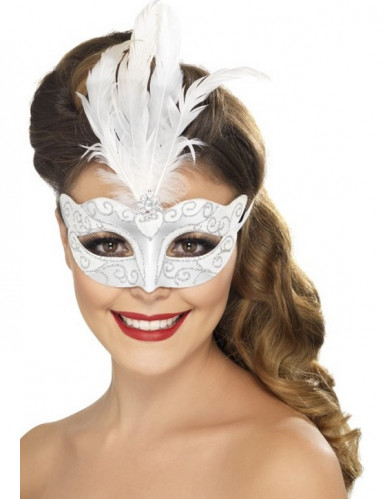 Mascherina veneziana bianco e argento per adulto