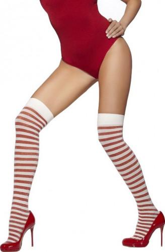 Calze bianche e rosse con paillettes donna
