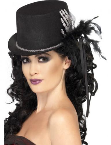Cappello nero con mano scheletrica e piume donna Halloween