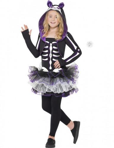 Costume scheletro gatto viola bambina Halloween