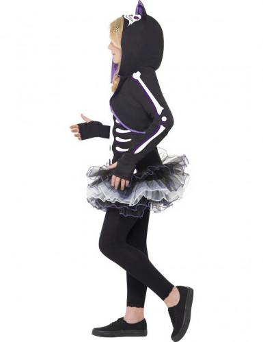 Costume scheletro gatto viola bambina Halloween-1