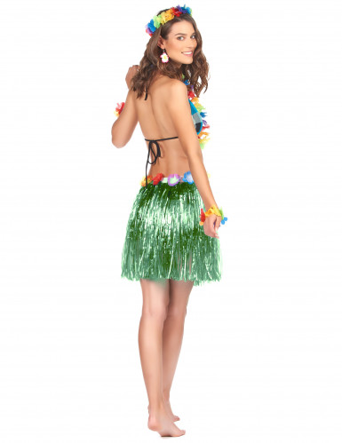 Gonna hawaiana corta verde donna-1