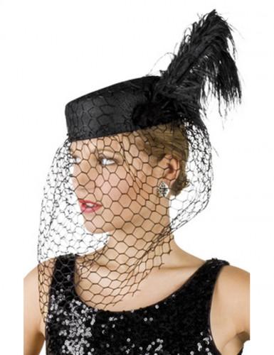 Cappello a velo nero donna