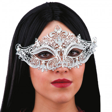 Maschera metallica argentata con perle bianche per adulti
