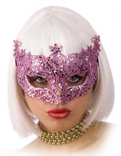 Maschera veneziana rosa brillante