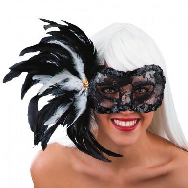 Maschera piume nere Adulto