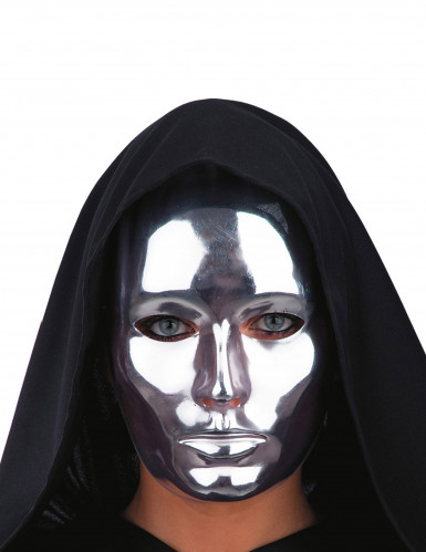 Maschera viso argentato cromato adulto