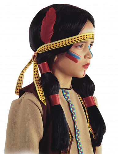Parrucca indiana con piume per bambino