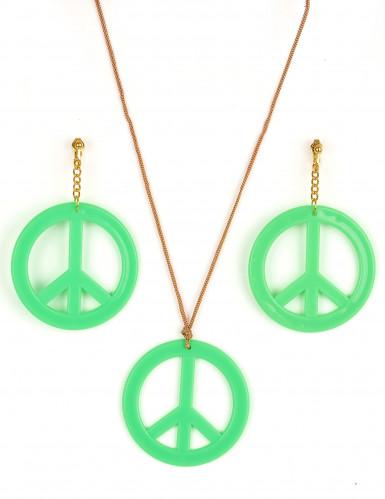Orecchini e ciondolo Hippy verde