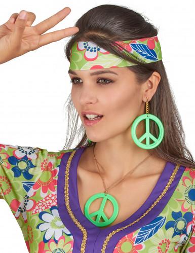 Orecchini e ciondolo Hippy verde-1