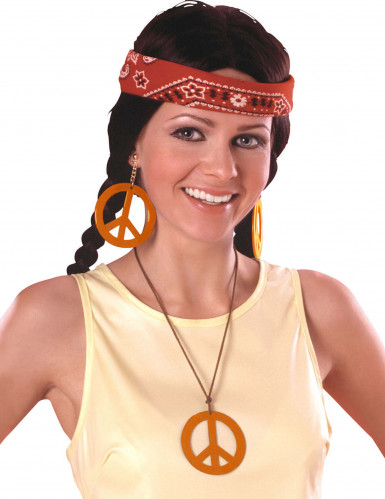 Kit hippie arancione adulto