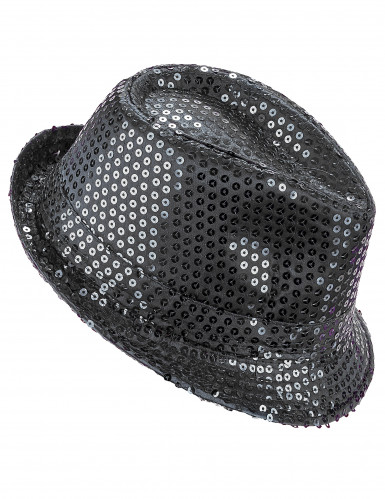 Cappello paillettes nero adulto