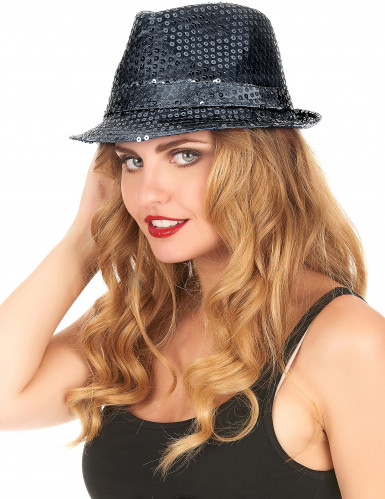 Cappello paillettes nero adulto-2