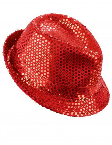 Cappello con paillettes rosso adulto