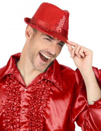 Cappello con paillettes rosso adulto-1