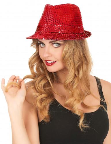 Cappello con paillettes rosso adulto-2
