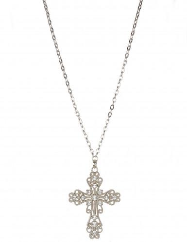 Collana croce false pietre preziose