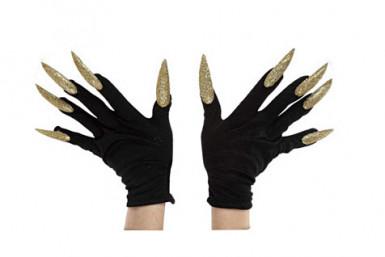 Guanti neri con lunghe unghie dorate